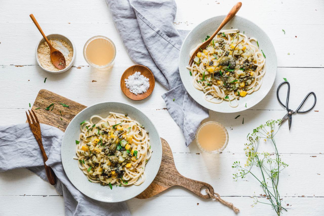 Spaghetti mit Zucchini-Ragout