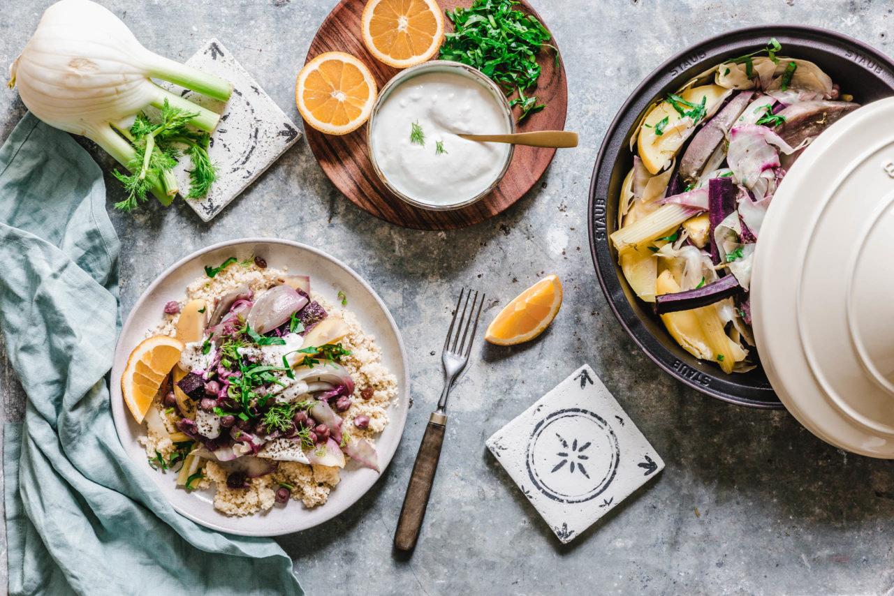 Möhren-Süßkartoffel-Tajine mit Fenchel & Weißkraut